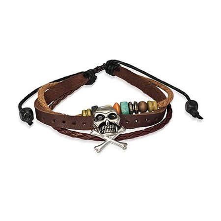 Bling Jewelry Surfer Zen Leather Wrap Bracelet Pirate Skull Silver Plated