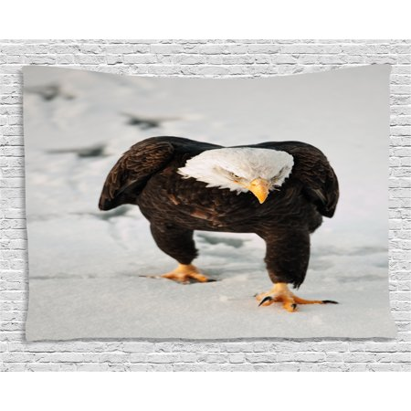 Eagle Tapestry, Majestic Bird Walking on the Snow and Leaving Traces Looking for Prey, Wall Hanging for Bedroom Living Room Dorm Decor, 60W X 40L Inches, Dark Brown Coconut Apricot, by Ambesonne