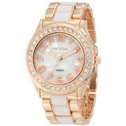 Jade LeBaum Womens Watch Rose Gold Tone and White Bracelet Designer Large Face Reloj de Mujer