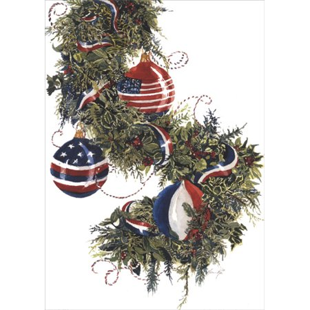 LPG Greetings America's Garland Box of 18 Patriotic Christmas Cards