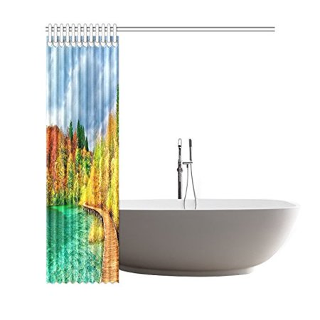 GCKG Autumn Trees View Shower Curtain, National Park Scenery Polyester Fabric Shower Curtain Bathroom Sets with Hooks 66x72 Inches - image 1 de 3