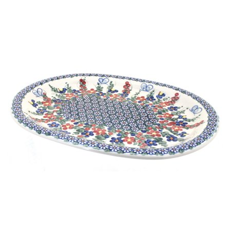 Polish Pottery Garden Butterfly Large Serving Platter Butterfly Garden Platter