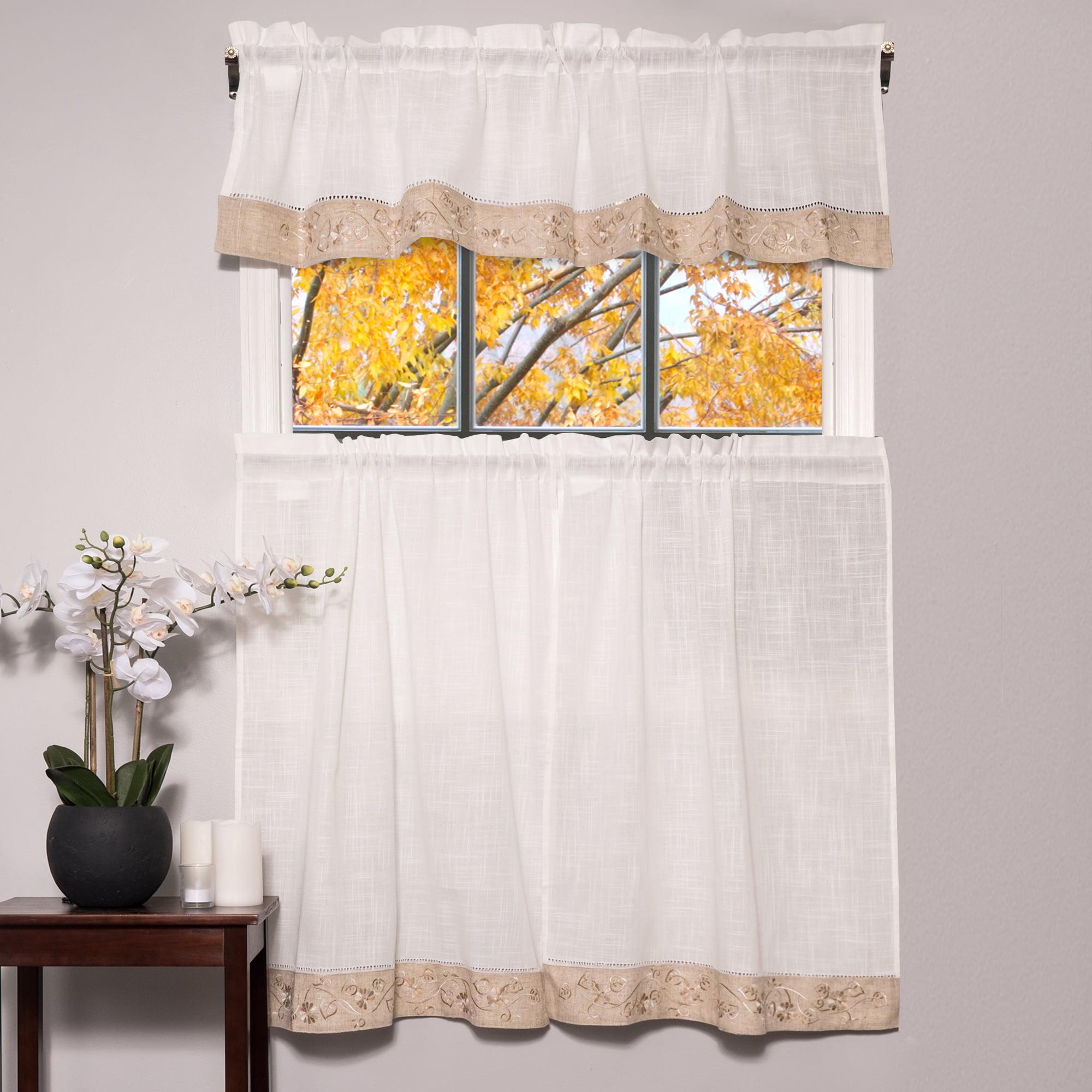 """oakwood linen style kitchen window curtain 58"""" x 36"""