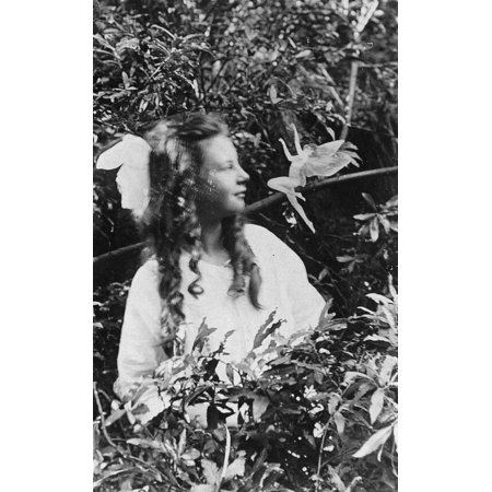 Fairy Hoax 1920 Nfrances Griffiths And A Leaping Fairy In A Photograph Made In 1920 By Her Cousin Elsie Wright With A Paper Cutout Poster Print by Granger Collection