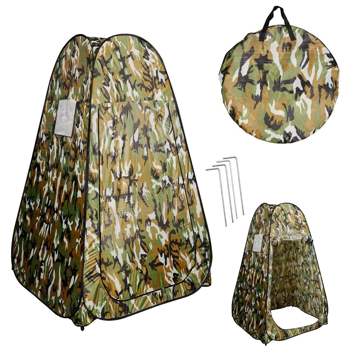 costway portable pop up fishing u0026 bathing toilet changing tent camping room camouflage