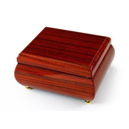 Astonishing Hi Gloss Wood Tone Petite Music Box - Born Free - (Johnny Don T Wanna Go To School)