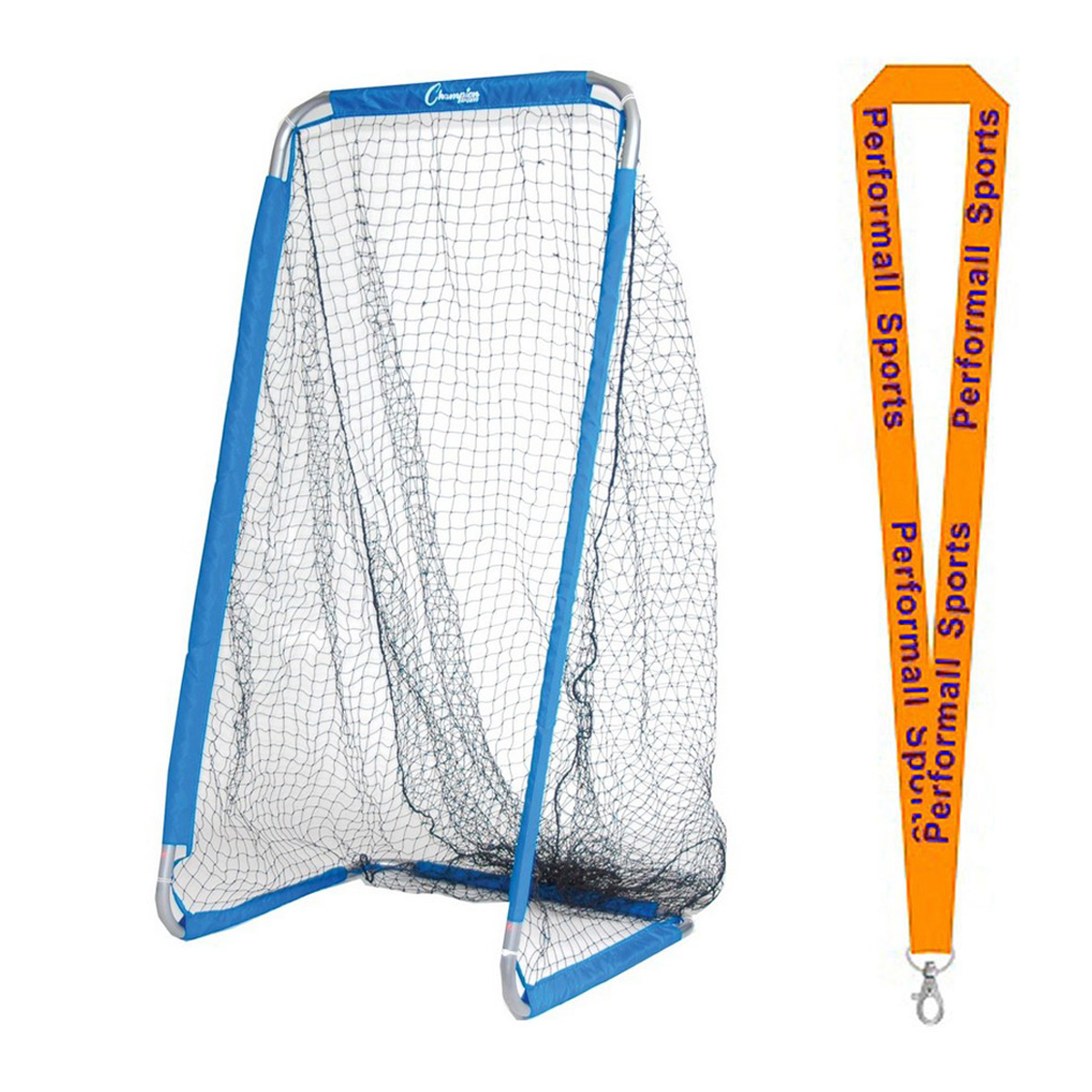 Champion Sports Bundle: Football Kicking Screen Blue / White with 1 Performall Lanyard FKPRO-1P