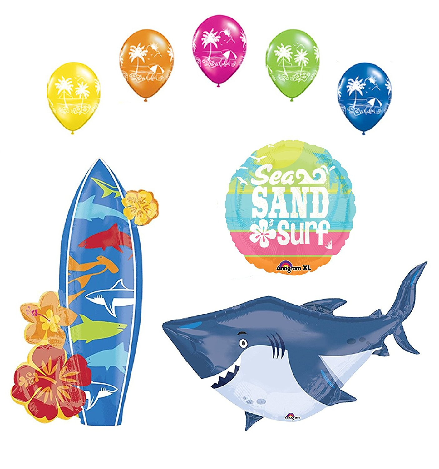Beach Luau Party Supplies Shark and Surfboard Balloon Bouquet Decorations, (1) 40 Ocean Buddies Shark Foil Balloon By Mayflower Products