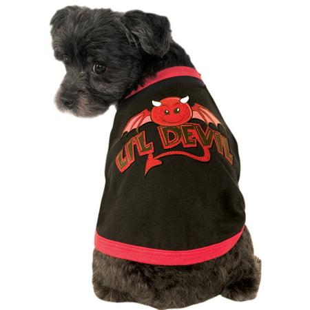 Little Devil Pet Dog Cat Black Red Costume Ringer Tee T-Shirt](Devil Dog Costumes)