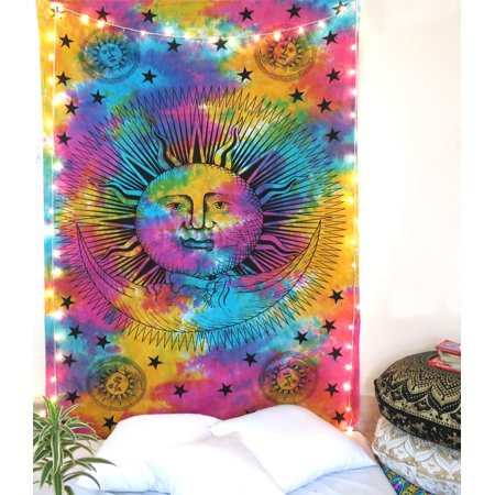 Celestial Tapestry (Multicolor Sun Moon Tapestry Celestial Wall Hanging Indian Living Room Outdoor Picnic Beach Throw Blanket Twin Size)