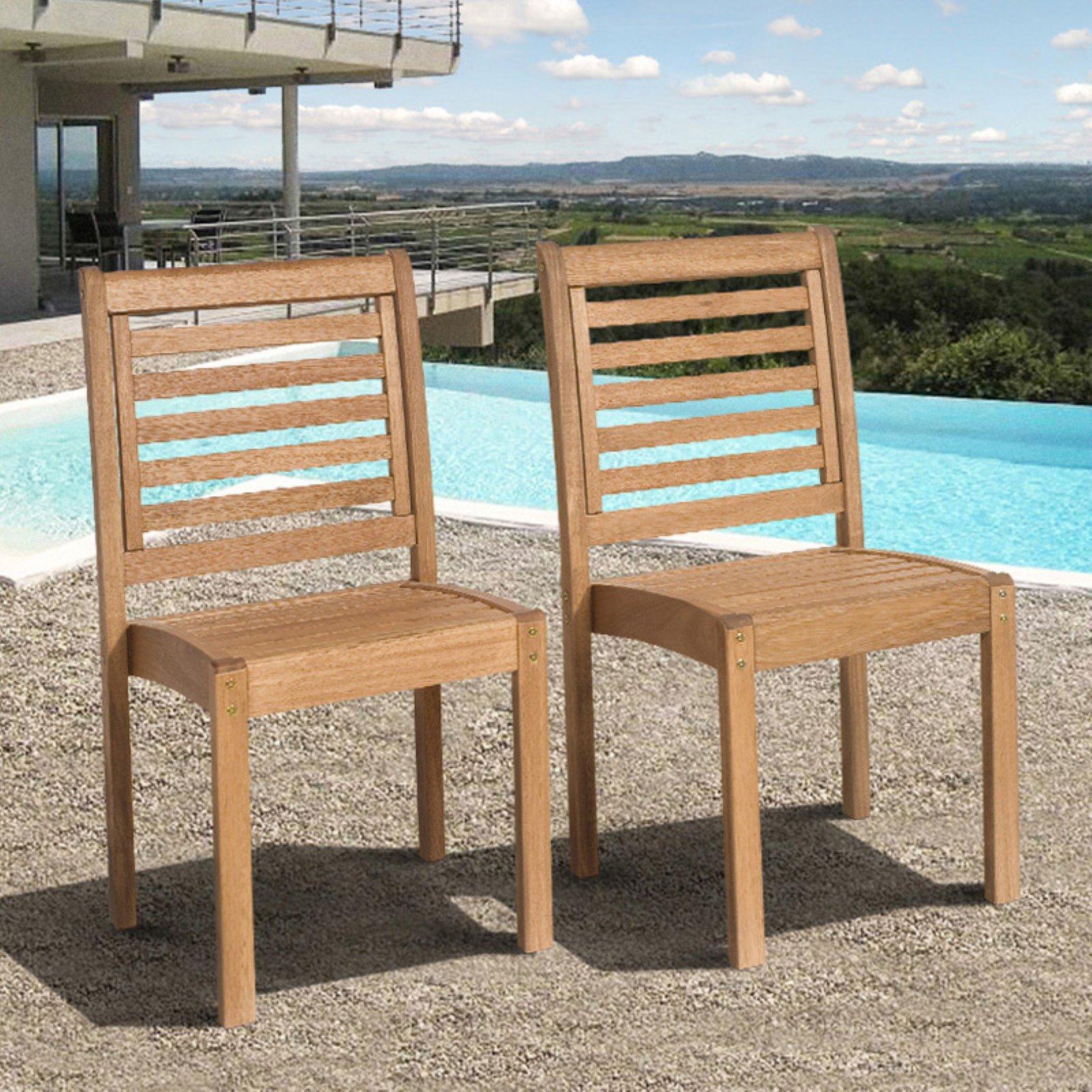 Amazonia Milano Eucalyptus Stackable Side Chair - Set of 2