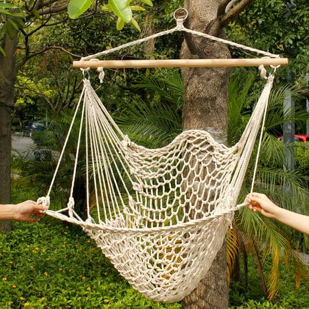 Zimtown Outdoor Swing SeatCotton Rope Hammock Hanging Chair Seat Porch Patio Garden Tree (Tree Hammock Chair)
