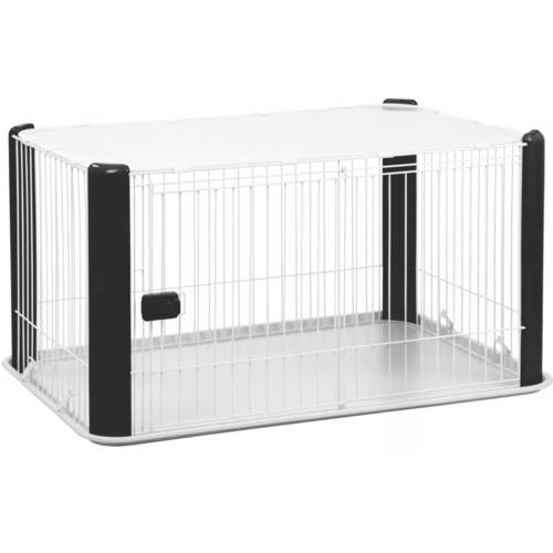 IRIS Large Wire Pet Playpen with Roof, White