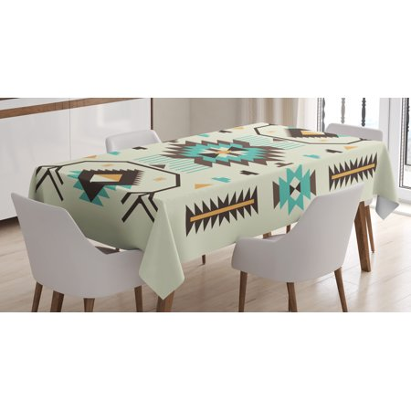 Southwestern Tablecloth, Ethnic Pattern Design from Ancient Aztec Culture with Indigenous Zigzag Motifs, Rectangular Table Cover for Dining Room Kitchen, 60 X 90 Inches, Multicolor, by Ambesonne