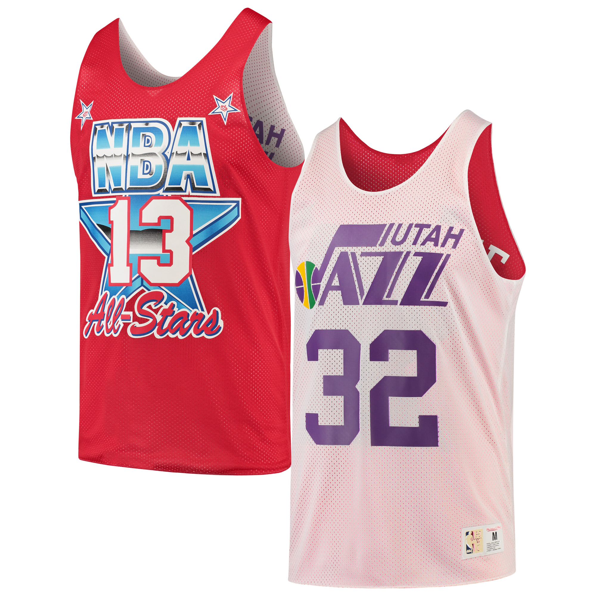 Karl Malone Utah Jazz Mitchell & Ness All-Star Game Reversible Mesh Tank Top - White/Red