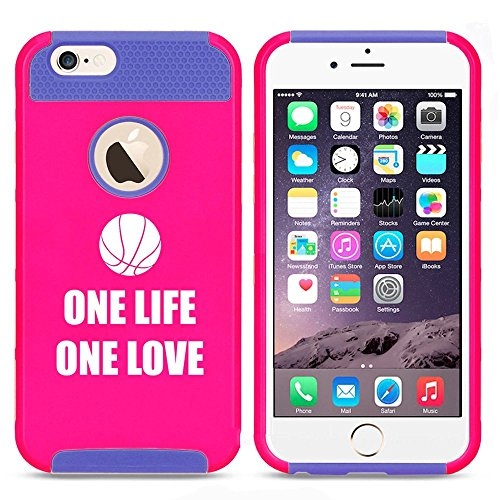 Apple iPhone 5 5s Shockproof Impact Hard Case Cover One Life One Love Basketball (Hot Pink-Blue),MIP