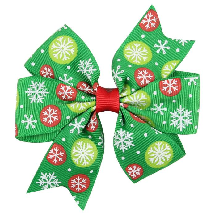 Baby Girls Christmas Ornaments Bowknot Hairpin Headdress A
