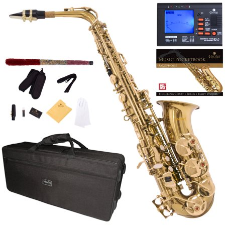 Mendini by Cecilio Eb Alto Sax w/Tuner, Case, Mouthpiece, 10 Reeds, Pocketbook and 1 Year Warranty, MAS-L Gold Lacquer E Flat Saxophone