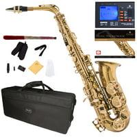 Mendini by Cecilio Eb Alto Sax w/Tuner, Case, Mouthpiece, 10 Reeds, Pocketbook and 1 Year Warranty, MAS-L Gold Lacquer E Flat Saxophone