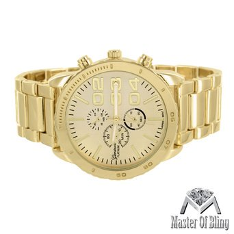 Mens Gold Tone Watch Three 3 Time Zone Dial 45Mm Stainless Steel Back Party Wear