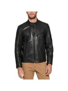 Andrew Marc Mens Leather Motorcycle Jacket, black, Large