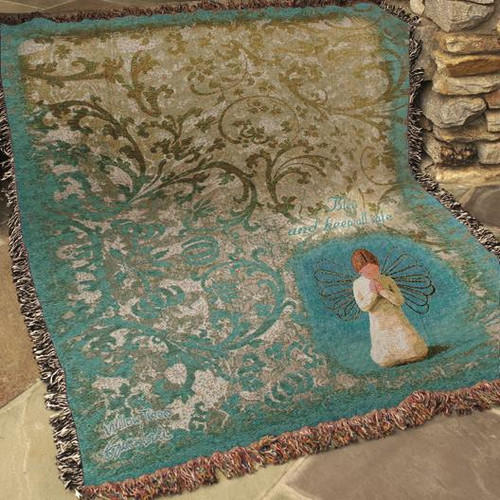 Manual Woodworkers & Weavers Willow Tree Angel Tapestry Cotton Throw