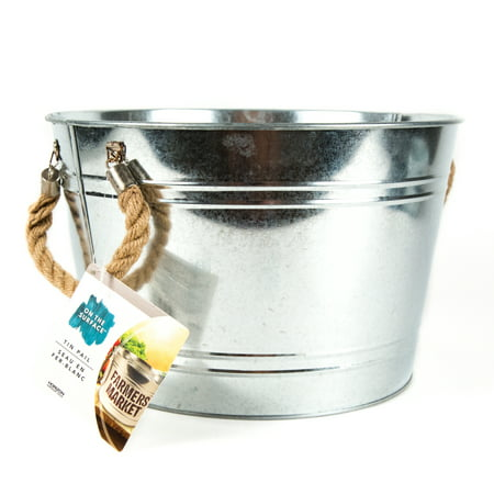 On the Surface Large Tin Pail with Burlap Handles, 1