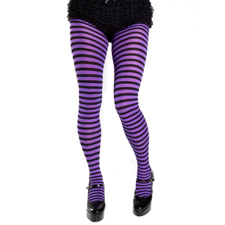 Plus Size Opaque Black & Purple Fairy Striped Tights](Purple And Pink Striped Tights)