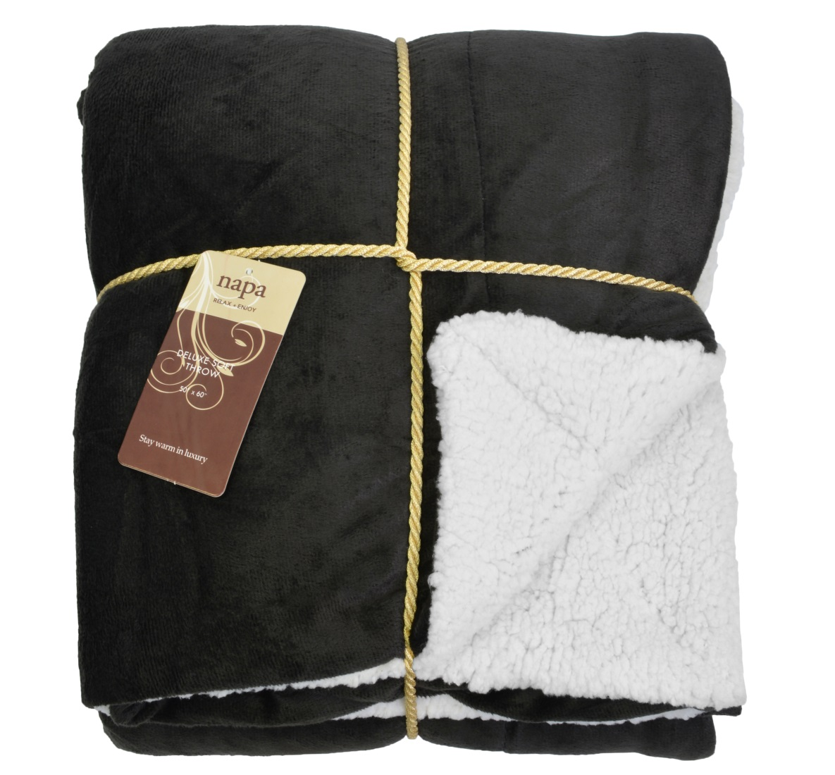"Napa Super Soft Micro Mink Fleece Sherpa Bed Throw TV Blanket 50"" x 60"" Reversible"