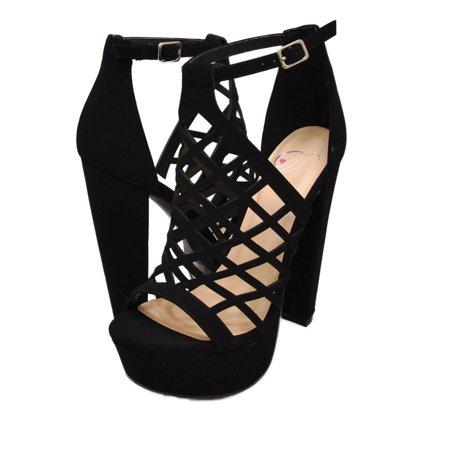 Delicious EXIT-S Women's Caged Platform Open Toe High Heel