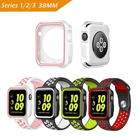 Rugged Armor Apple Watch Case  38Mm  Iclover Slim Shock Proof And Shatter Resistant Tpu Protector Iwatch Cover For Apple Watch Series 3 Series 2 Series 1  Nike   Sport  Edition White Pink