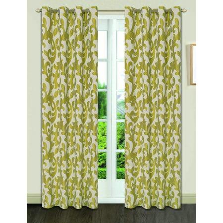 Dainty Home Pali Jacquard Woven Grommet Window Curtain Panels Set of 4