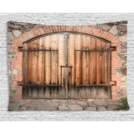 Wrought Iron Wall Hanging - Rustic Tapestry, Wooden Door of a Stone House with Wrought Iron Elements Tuscany Architecture Photo, Wall Hanging for Bedroom Living Room Dorm Decor, 60W X 40L Inches, Brown Grey, by Ambesonne