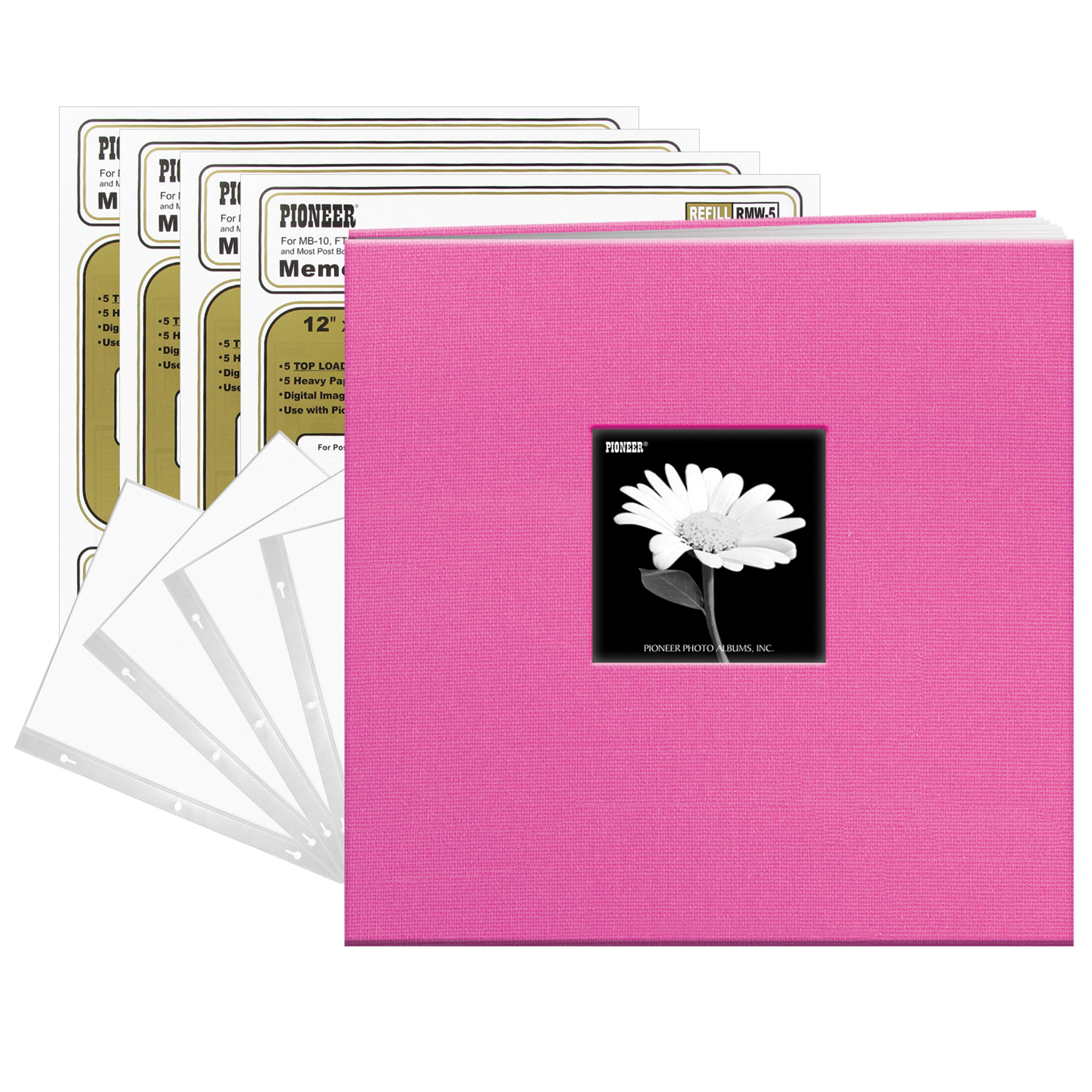 Pioneer Photo Albums Pioneer Bright Pink Fabric Frame Cover 12-inch x 12-inch 20-sheet Bound Scrapbook