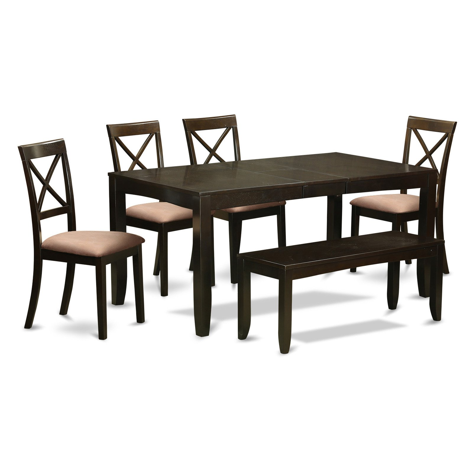 East West Furniture Lynfield 6 Piece Extension Dining Table Set with Boston Chairs