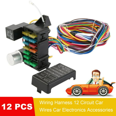 Universal 12 PCS Wiring Harness Professional 12 Circuit Car ... on