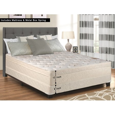 WAYTON, 13-Inch Firm Foam Encased Eurotop Pillowtop Innerspring Mattress And Metal Box Spring/Foundation Set, No Assembly Required, Good For The Back, Twin Size 74