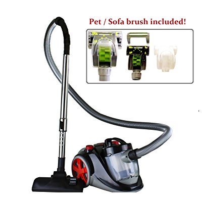 Ovente Featherlite Cyclonic Bagless Canister Vacuum with Hepa Filter and Pet/Sofa Brush - Corded, (ST2010