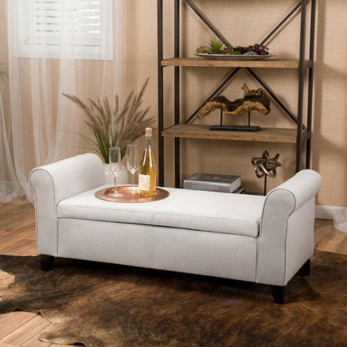 Stetson Armed Light Grey Fabric Storage Bench