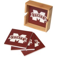 Mississippi State Bulldogs 4-Pack Square Coaster Set with Caddy - No Size