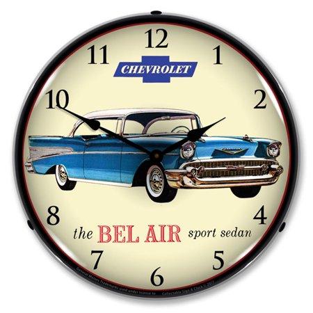 - 1957 Chevrolet The Bel Air Sport Sedan LED Wall Clock, Retro/Vintage, Lighted, 14 inch