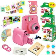 Fujifilm Instax Mini 9 Instant Camera FLAMINGO PINK w/ Fujifilm Instax Mini 9 Instant Films (60 Pack) + A14 Pc Deluxe Bundle For Fujifilm Instax Mini 9 Camera