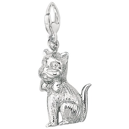 Women's Sterling Silver Whimsical Bow Tie Kitten Clip-On Charm