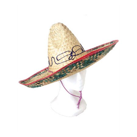 "18"" Red Blue Adult Costume Straw Sombrero Hat"