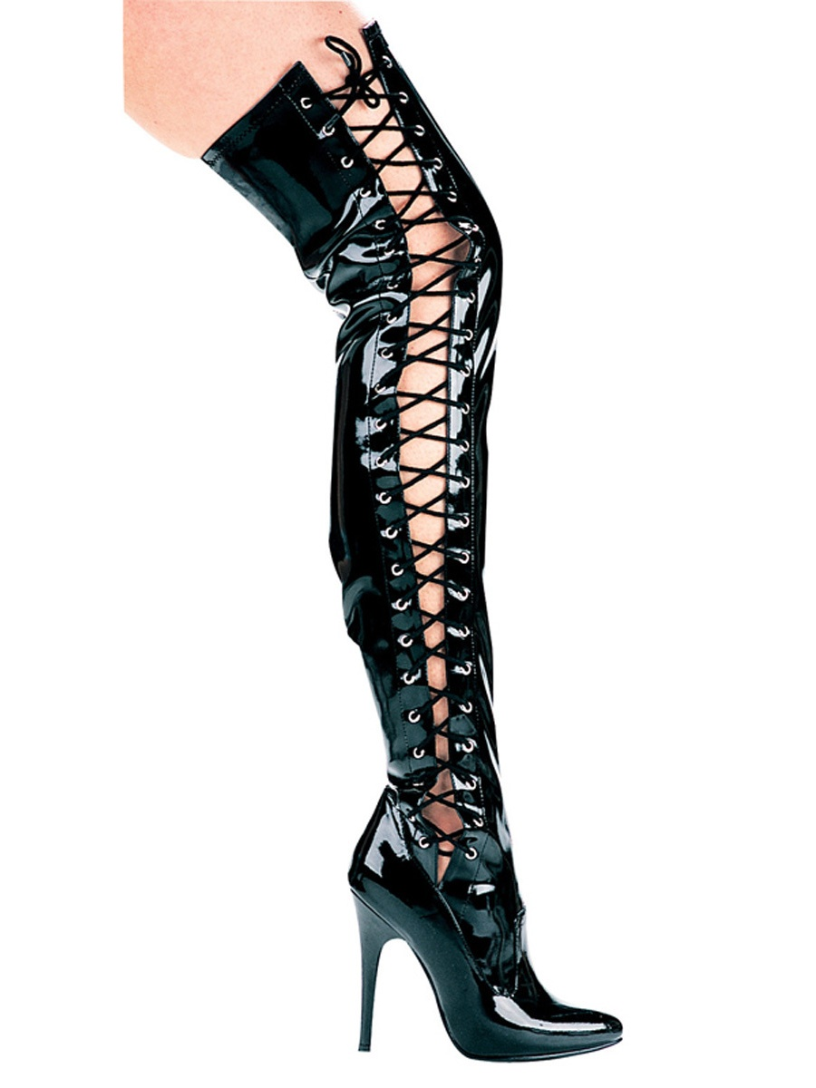 5 Inch Sexy Thigh High Boot Single Sole Boot Stretch With Side Laces
