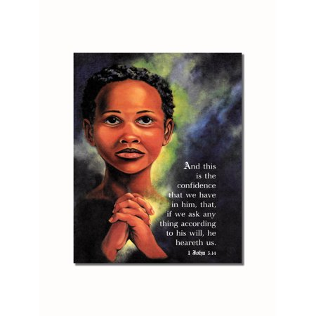 Kid Pictures To Print (African American Black Child Praying 1st John 5 Bible Verse Wall Picture 8x10 Art)