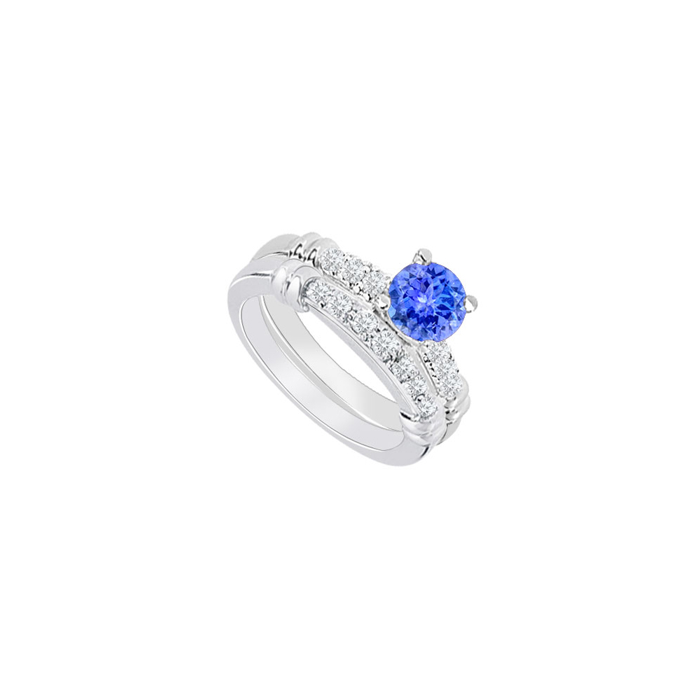 14K White Gold Created Tanzanite and Cubic Zirconia Engagement Ring with Wedding Band Set 0.75 C by Love Bright