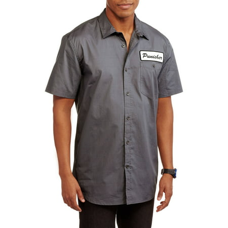 Punisher Mens Work Short Sleeve Woven Work Shirt