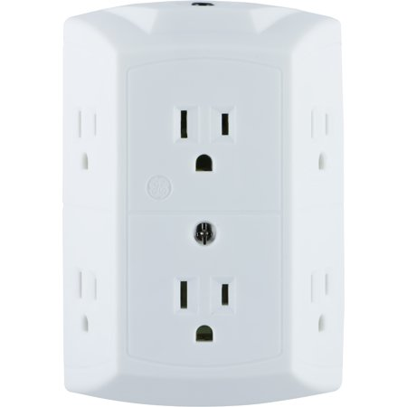 GE 6-Outlet Wall Adapter, Reset Button, Wide Spaced Outlets,