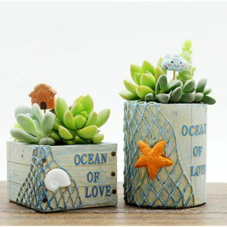 1PCS Mini Cartoon Flower Pot Creative Plant Pot Home Office Decoration Gift Square (Square Flower Pots)